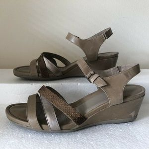 "Ecco tan sandals with 2"" wedge - womens euro 40"